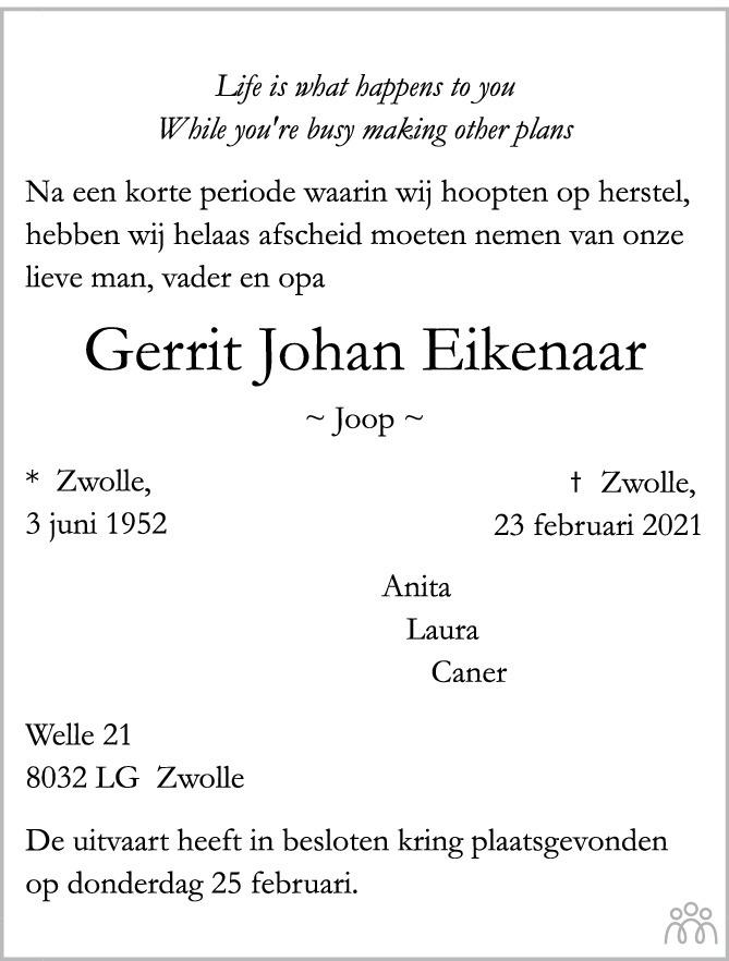 Overlijdensbericht van Gerrit Johan Eikenaar in de Stentor