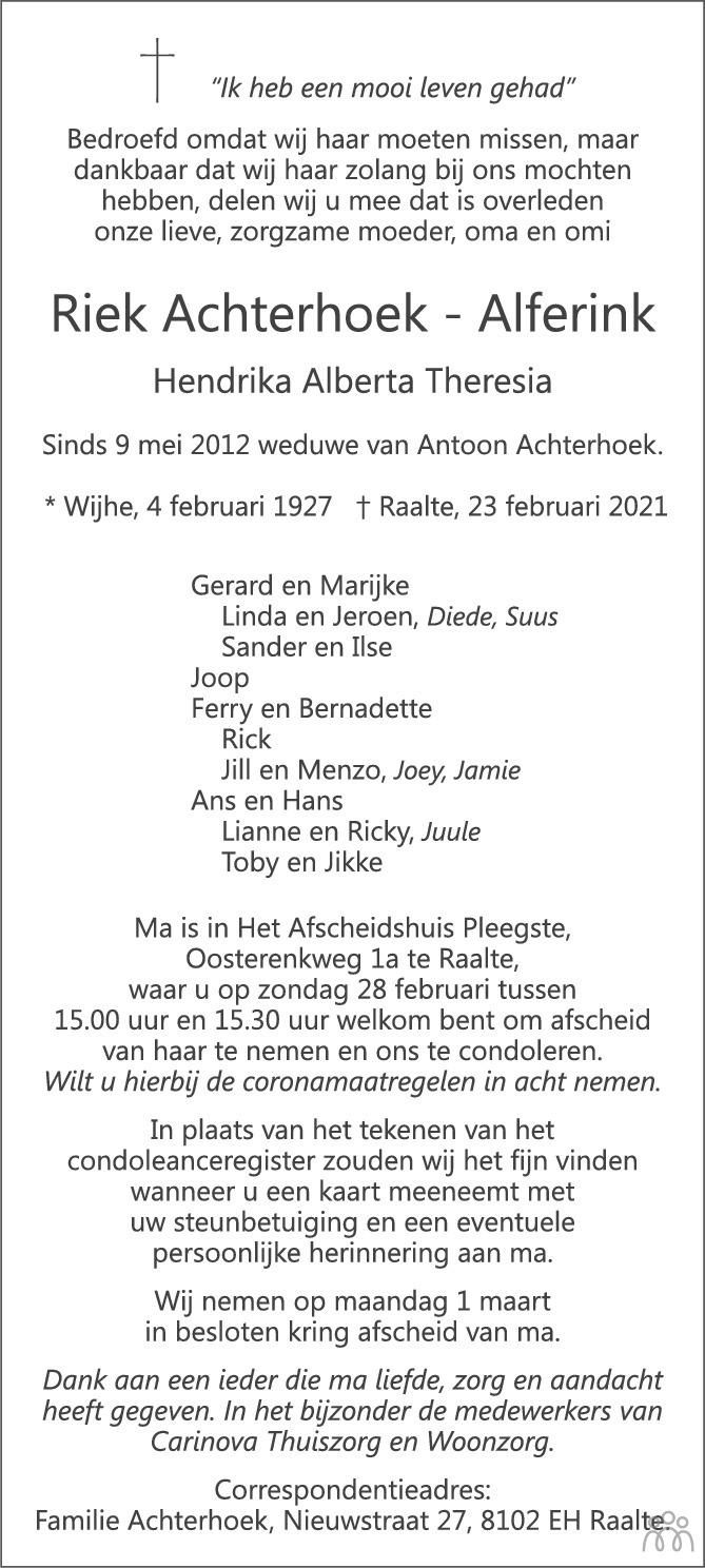 Overlijdensbericht van Riek (Hendrika Alberta Theresia) Achterhoek-Alferink in de Stentor