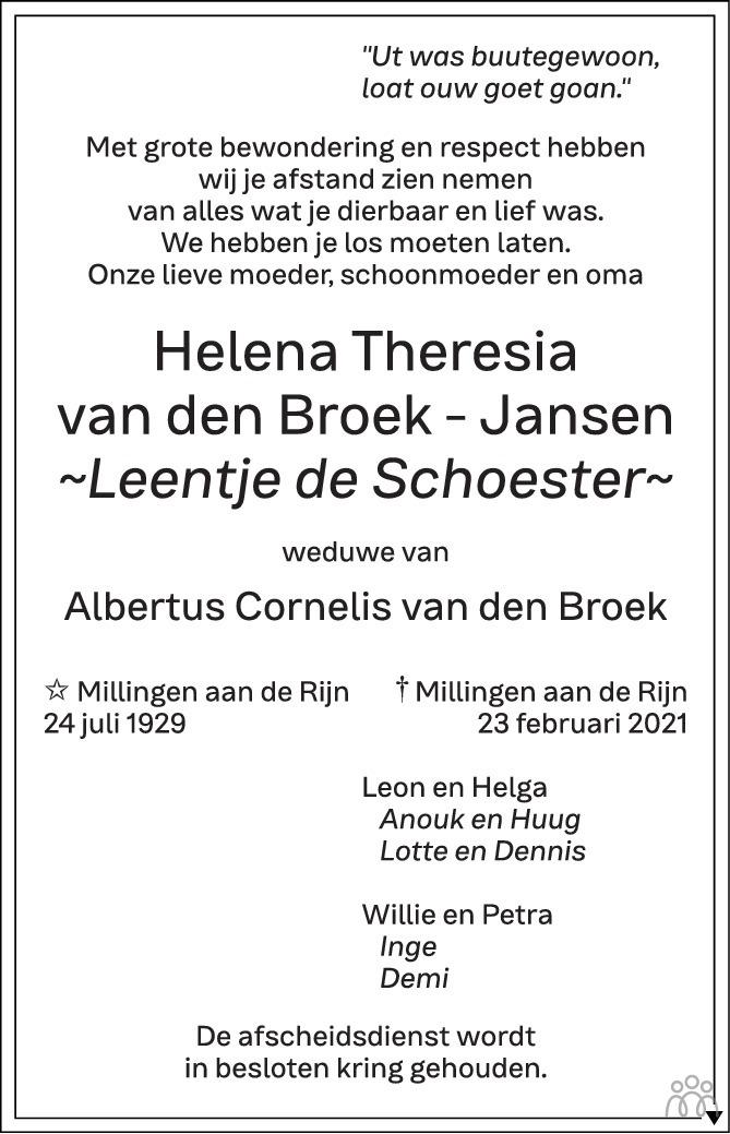 Overlijdensbericht van Helena Theresia van den Broek-Jansen in de Gelderlander