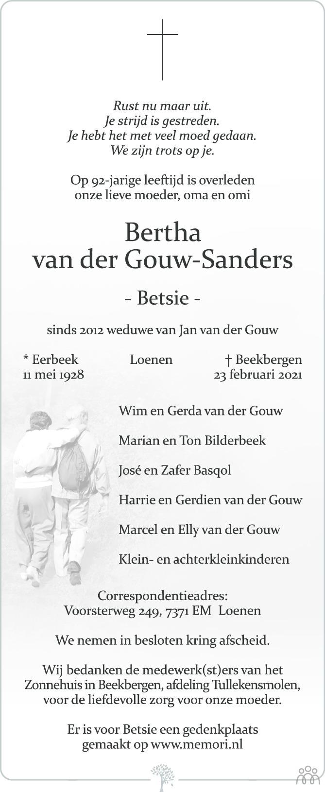 Overlijdensbericht van Bertha (Betsie) van der Gouw-Sanders in de Stentor