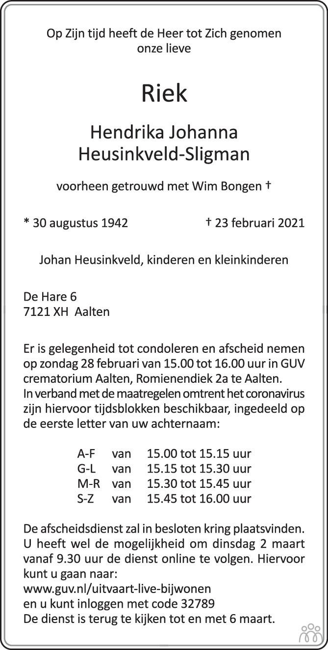 Overlijdensbericht van Riek (Hendrika Johanna) Heusinkveld-Sligman in de Gelderlander