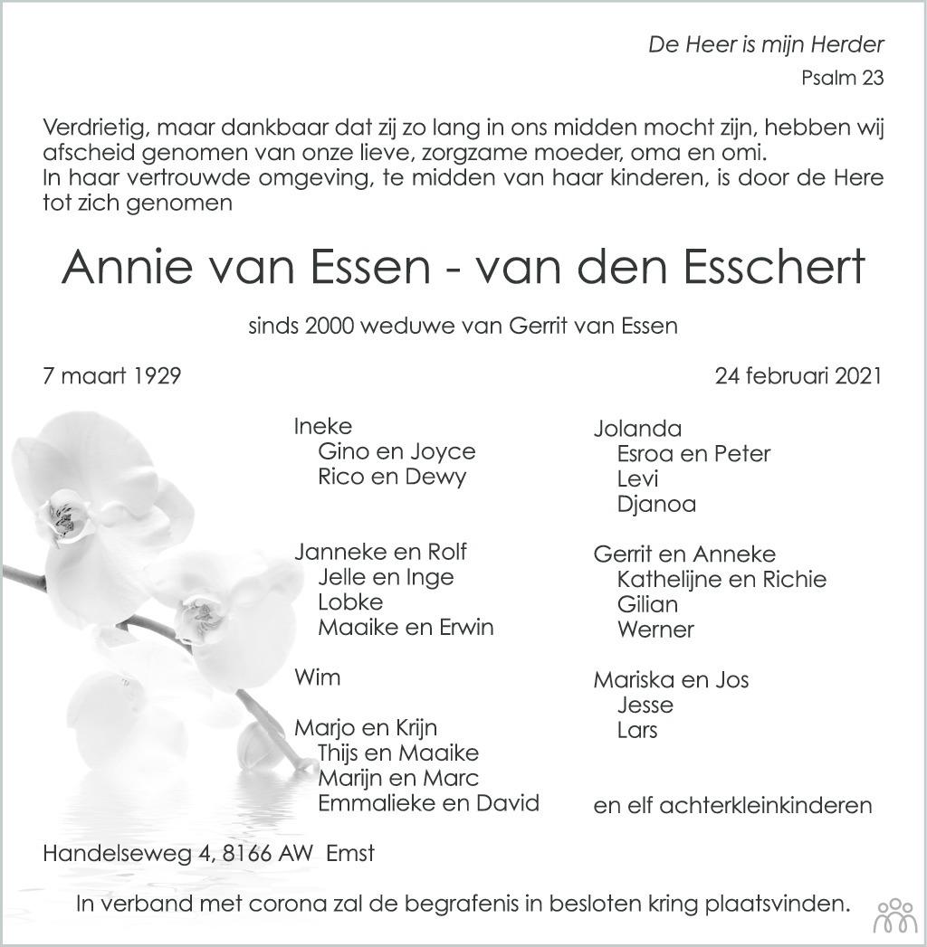 Overlijdensbericht van Annie van Essen-van den Esschert in de Stentor
