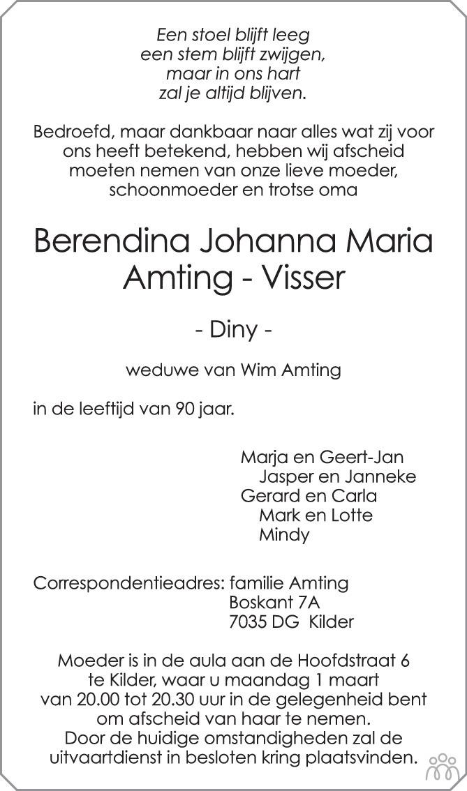 Overlijdensbericht van Berendina Johanna Maria (Diny) Amting-Visser in de Gelderlander