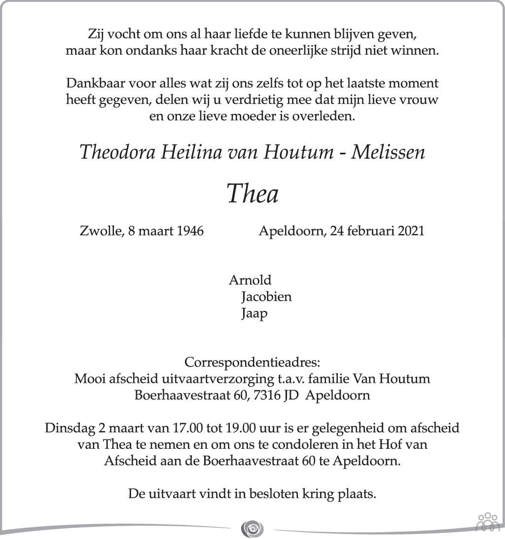 Overlijdensbericht van Theodora Heilina (Thea) van Houtum-Melissen in de Stentor