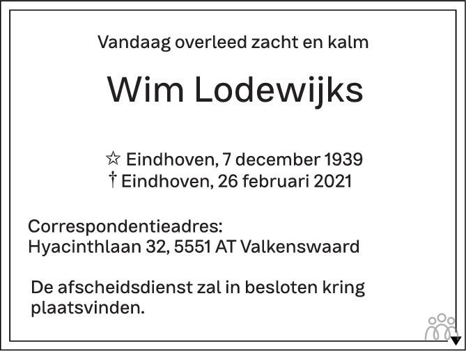 Overlijdensbericht van Wim Lodewijks in Eindhovens Dagblad