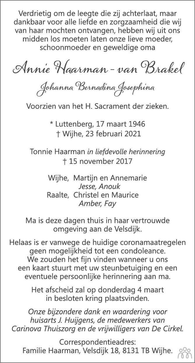Overlijdensbericht van Annie (Johanna Bernadina Josephina) Haarman-van Brakel in de Stentor