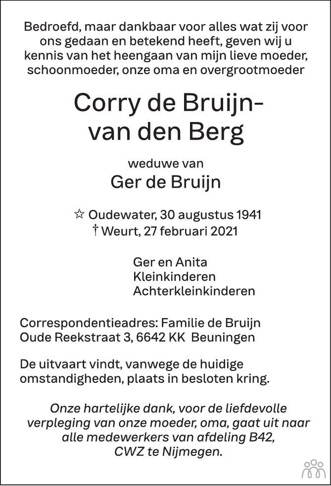 Overlijdensbericht van Corry de Bruijn-van den Berg in de Gelderlander