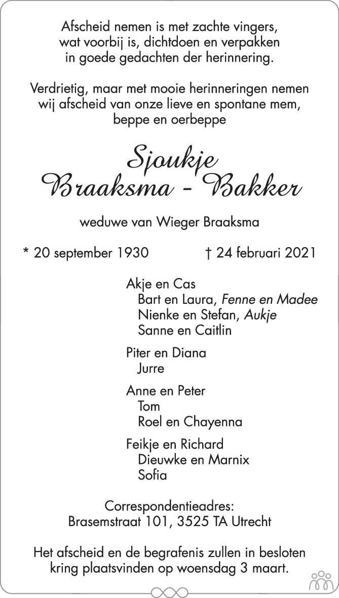Overlijdensbericht van Sjoukje Braaksma-Bakker in Trouw