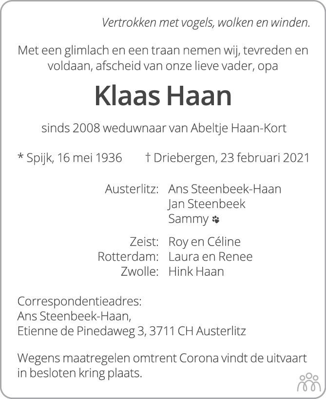 Overlijdensbericht van Klaas Haan in AD Algemeen Dagblad