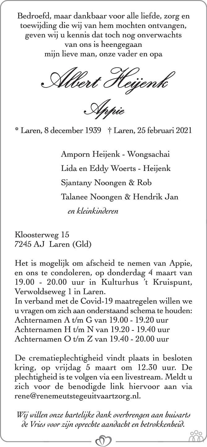 Overlijdensbericht van Albert (Appie) Heijenk in de Stentor