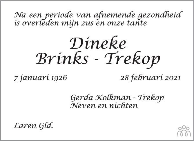 Overlijdensbericht van Engberdina (Dineke) Brinks-Trekop in de Stentor