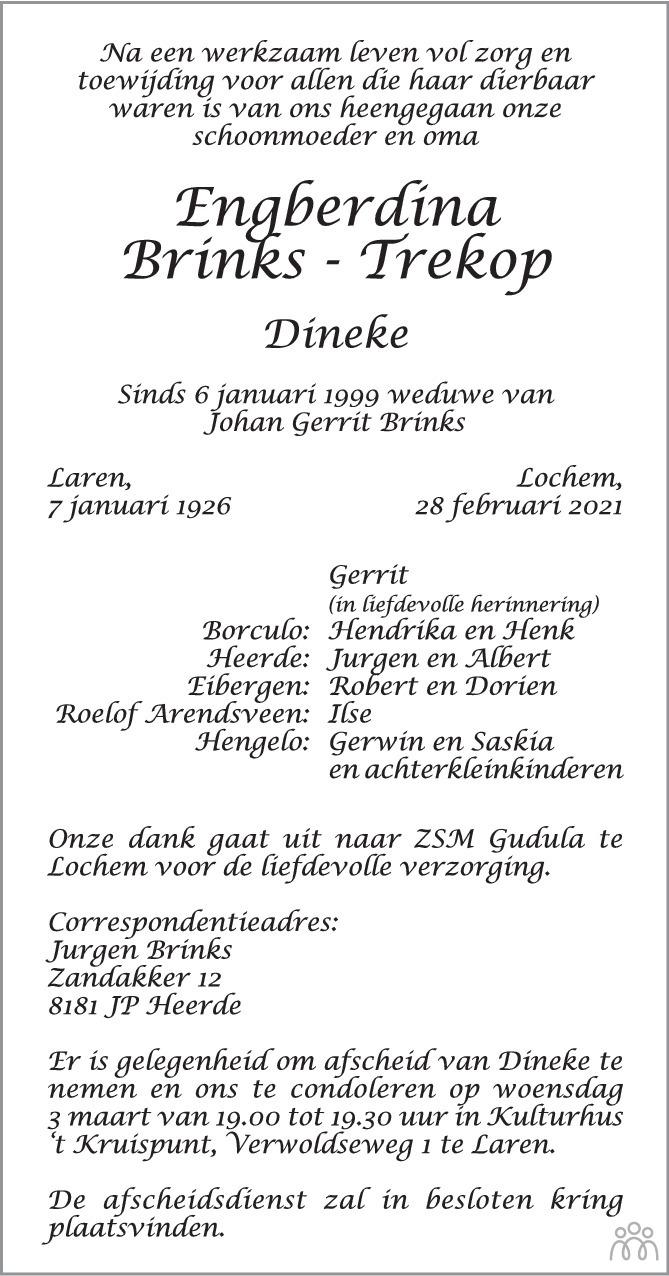 Overlijdensbericht van Engberdina (Dineke) Brinks-Trekop in Tubantia