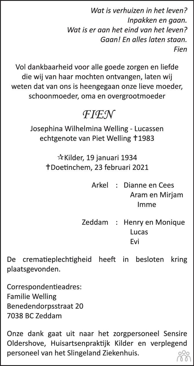 Overlijdensbericht van Fien (Josephina Wilhelmina) Welling-Lucassen in Doetinchem Vizier