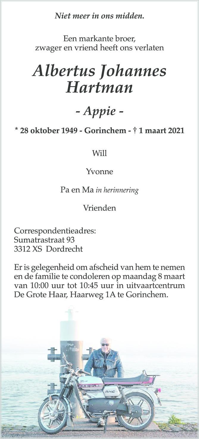 Overlijdensbericht van Albertus Johannes (Appie) Hartman in AD Algemeen Dagblad
