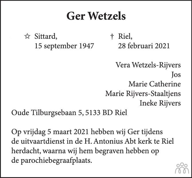 Overlijdensbericht van Ger Wetzels in BN DeStem