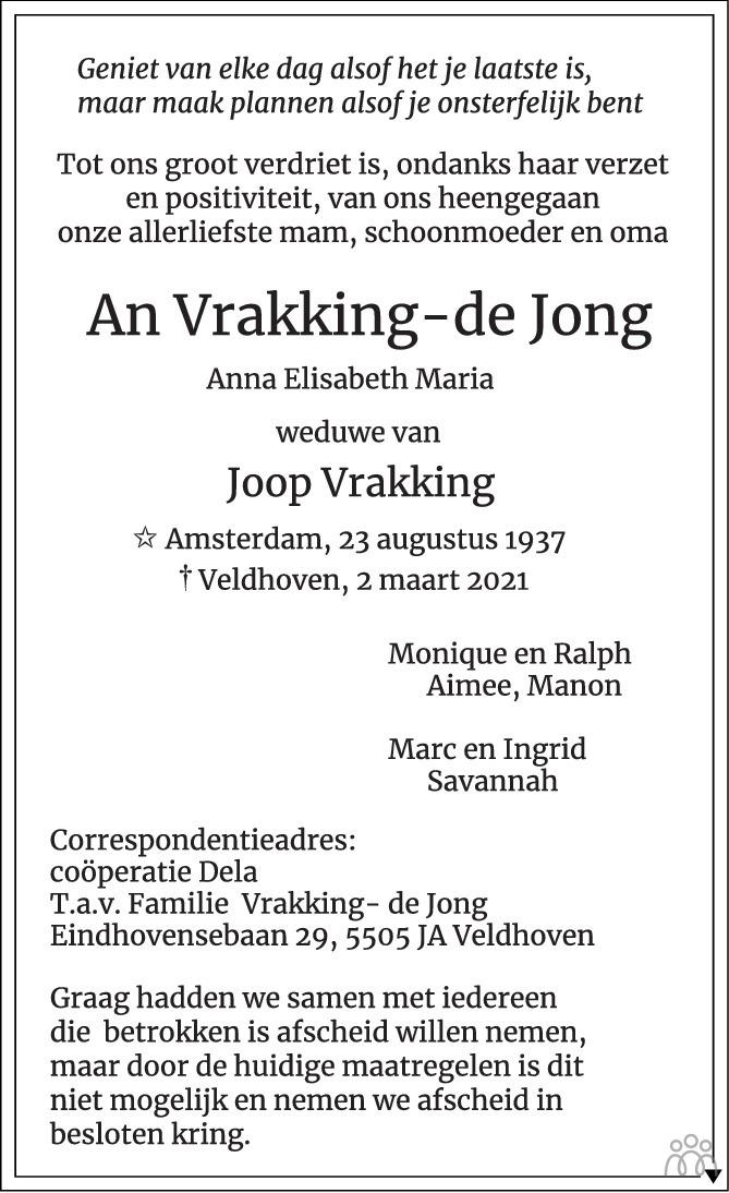 Overlijdensbericht van An Vrakking-de Jong in Eindhovens Dagblad
