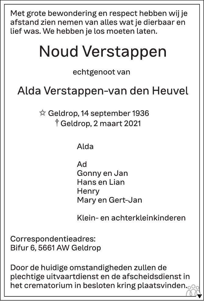 Overlijdensbericht van Noud Verstappen in Eindhovens Dagblad