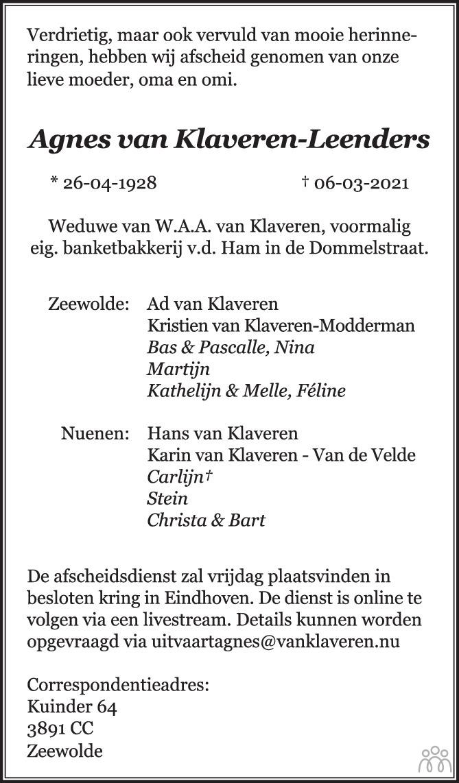 Overlijdensbericht van Agnes van Klaveren-Leenders in Eindhovens Dagblad