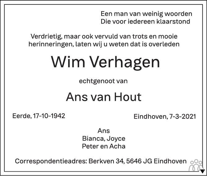 Overlijdensbericht van Wim Verhagen in Eindhovens Dagblad