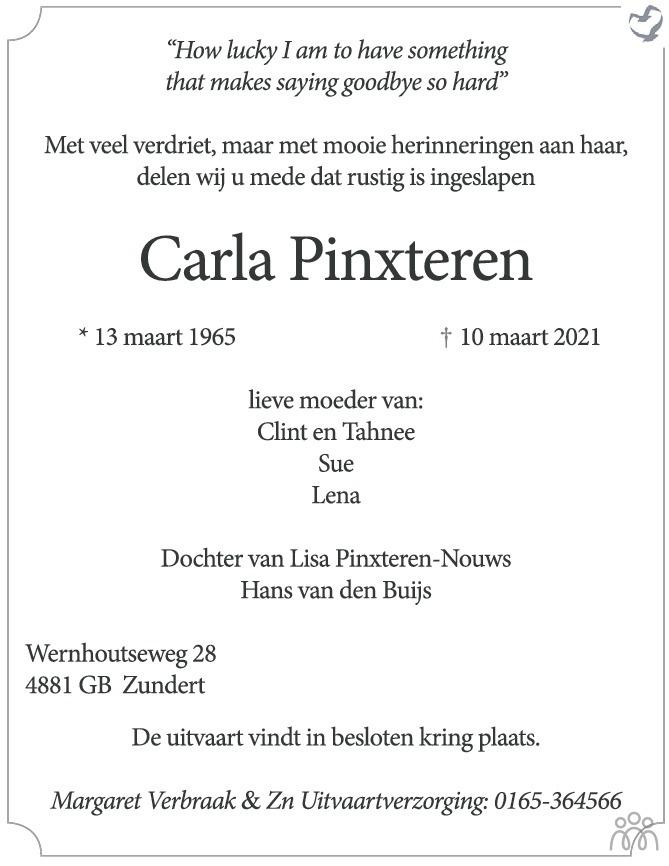 Overlijdensbericht van Carla Pinxteren in BN DeStem