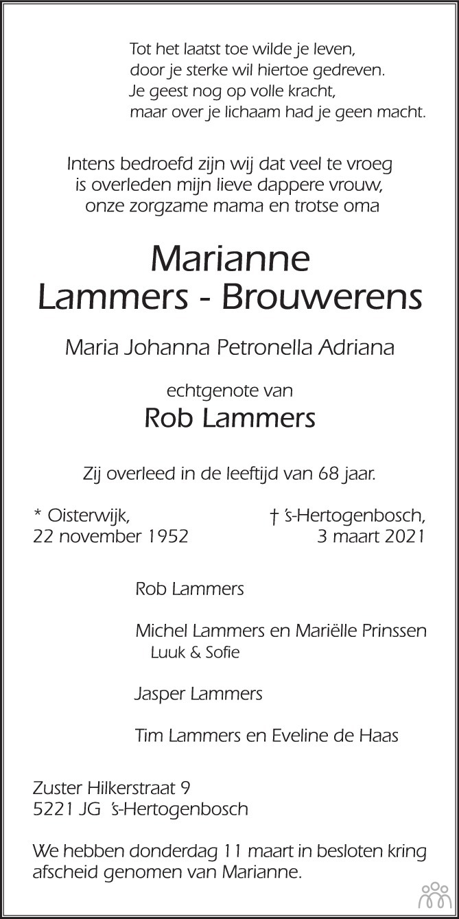 Overlijdensbericht van Marianne Lammers-Brouwerens in Brabants Dagblad