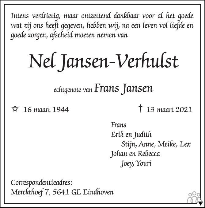 Overlijdensbericht van Nel Jansen-Verhulst in Eindhovens Dagblad