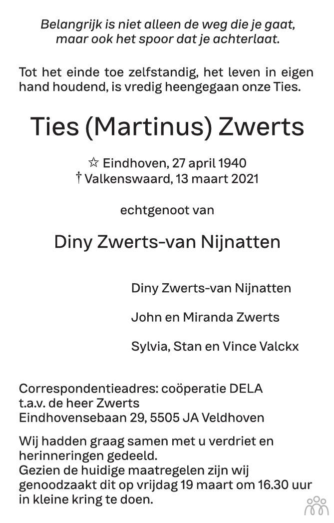 Overlijdensbericht van Ties (Martinus) Zwerts in Eindhovens Dagblad