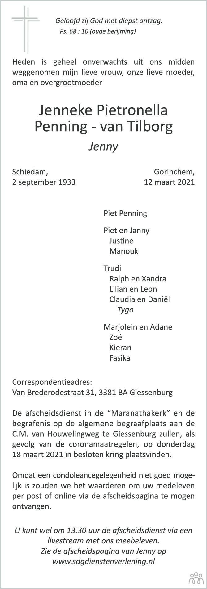 Overlijdensbericht van Jenneke Pietronella (Jenny) Penning-van Tilborg in Nieuwe Stadsblad