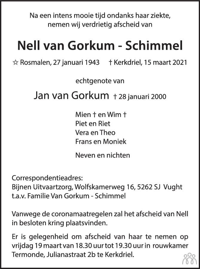 Overlijdensbericht van Nell van Gorkum-Schimmel in Eindhovens Dagblad