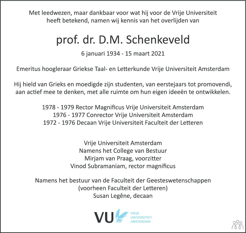 Overlijdensbericht van D.M. Schenkeveld in Trouw