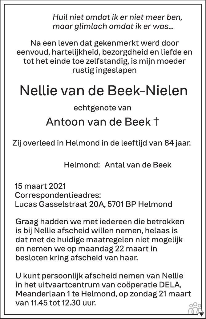 Overlijdensbericht van Nellie van de Beek-Nielen in Eindhovens Dagblad
