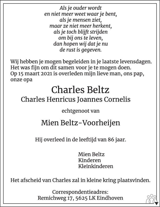 Overlijdensbericht van Charles (Charles Henricus Joannes Cornelis) Beltz in Eindhovens Dagblad