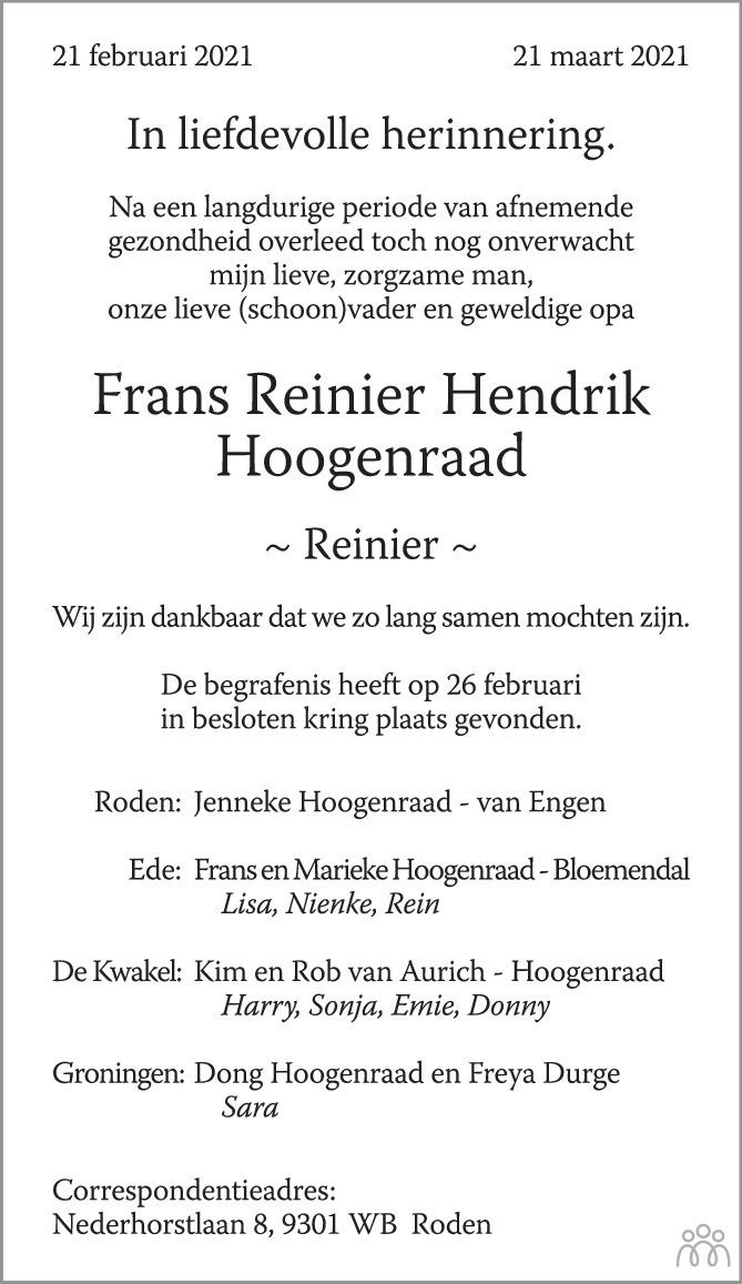 Overlijdensbericht van Frans Reinier Hendrik Hoogenraad in Trouw