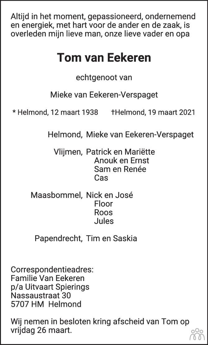 Overlijdensbericht van Tom van Eekeren in Eindhovens Dagblad