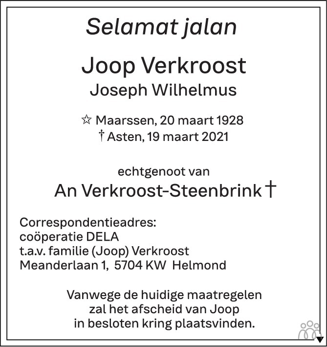 Overlijdensbericht van Joop (Joseph Wilhelmus) Verkroost in Eindhovens Dagblad