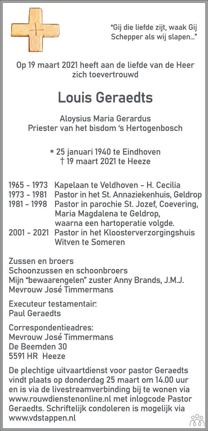 Overlijdensbericht van Louis (Aloysius Maria Gerardus) Geraedts in Trouw