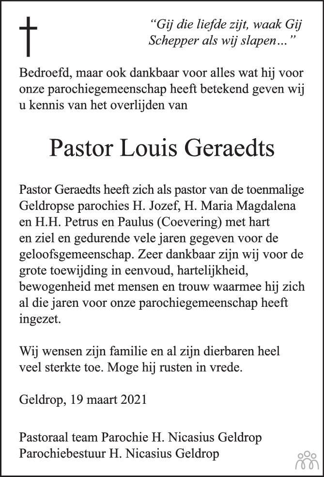 Overlijdensbericht van Louis (Aloysius Maria Gerardus) Geraedts in Eindhovens Dagblad