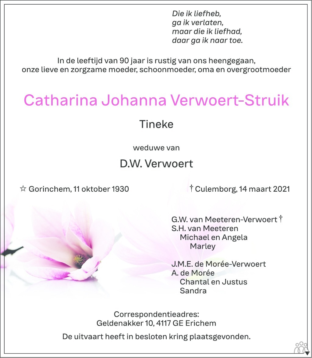 Overlijdensbericht van Catharina Johanna (Tineke) Verwoert-Struik in Zakengids Combinatie