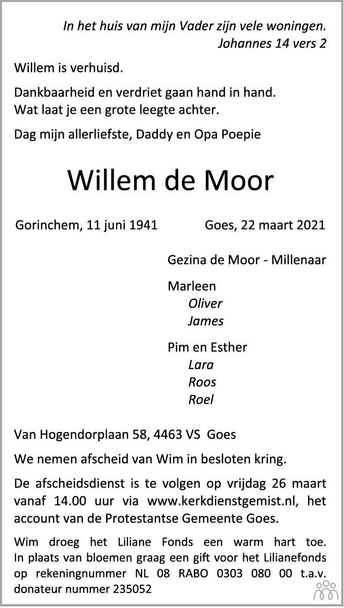Overlijdensbericht van Willem de Moor in PZC Provinciale Zeeuwse Courant