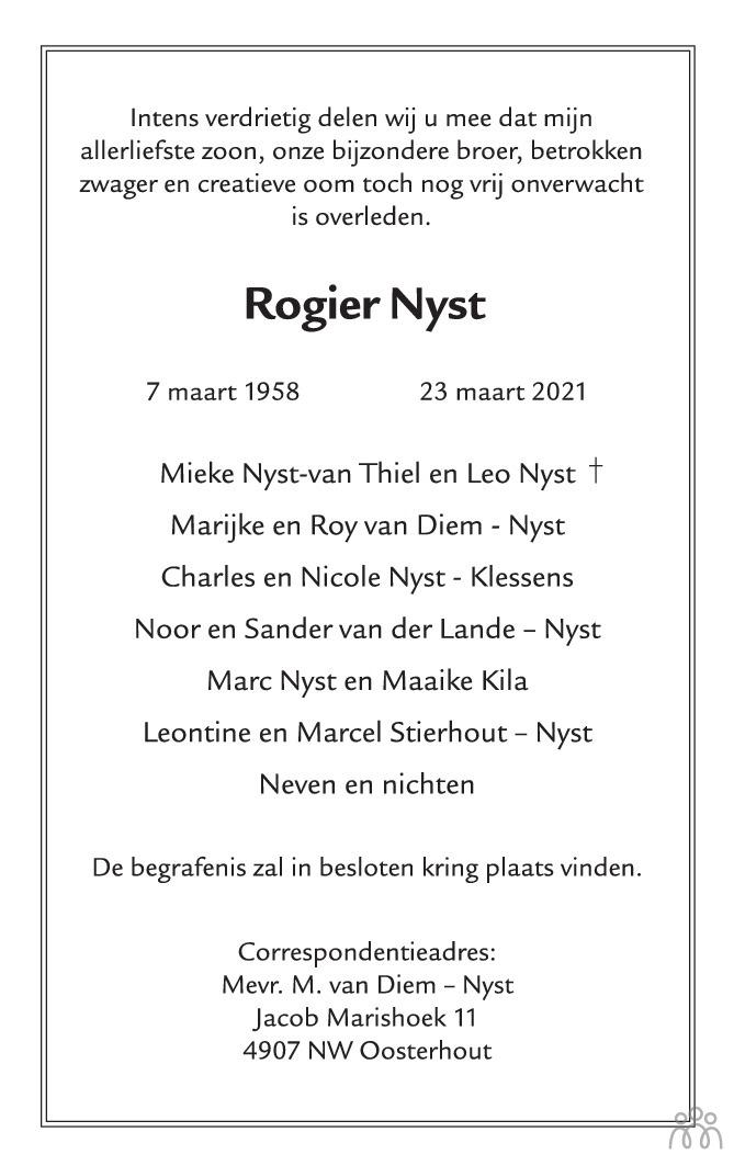Overlijdensbericht van Rogier Nyst in Eindhovens Dagblad