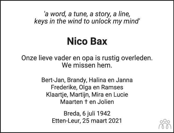 Overlijdensbericht van Nico Bax in BN DeStem