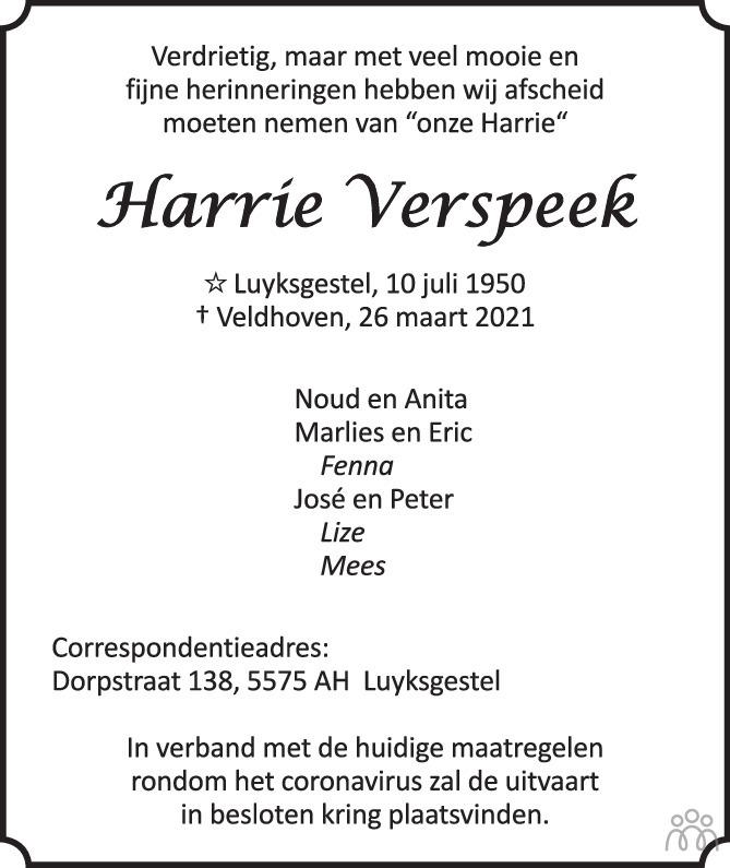 Overlijdensbericht van Harrie Verspeek in Eindhovens Dagblad