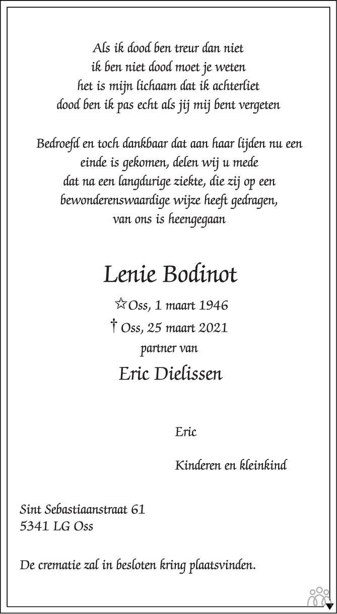 Overlijdensbericht van Lenie Bodinot in Brabants Dagblad
