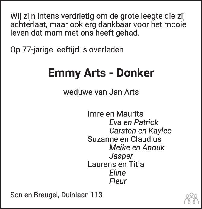 Overlijdensbericht van Emmy Arts-Donker in Eindhovens Dagblad