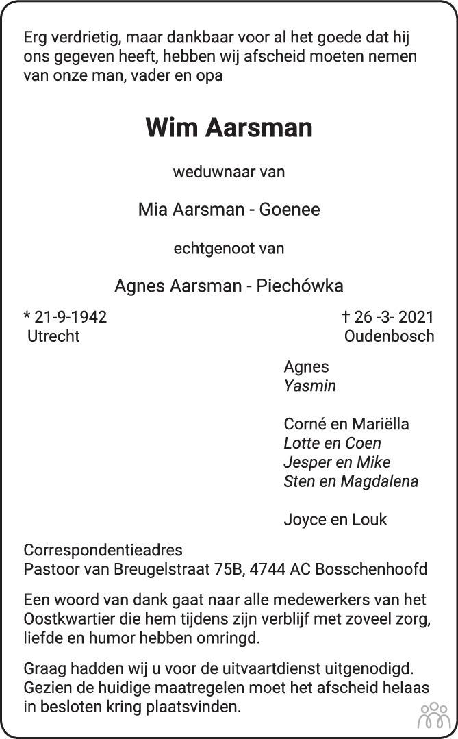 Overlijdensbericht van Wim Aarsman in BN DeStem