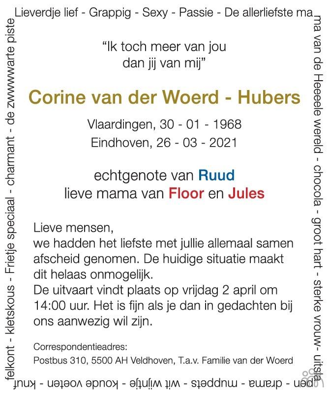Overlijdensbericht van Corine van der Woerd-Hubers in Eindhovens Dagblad
