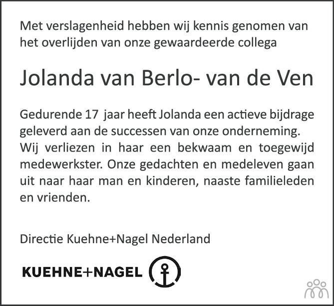 Overlijdensbericht van Jolanda van Berlo-van de Ven in Eindhovens Dagblad