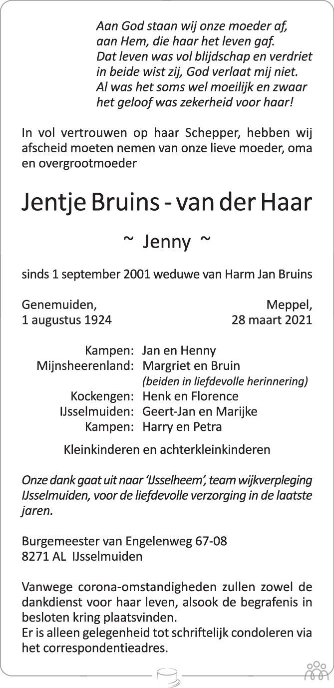Overlijdensbericht van Jentje (Jenny) Bruins-van der Haar in de Stentor