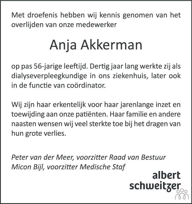 Overlijdensbericht van Anja Akkerman in AD Algemeen Dagblad