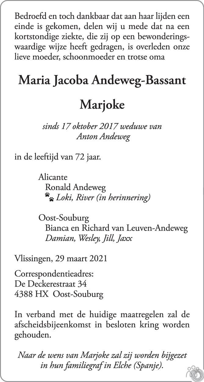 Overlijdensbericht van Maria Jacoba (Marjoke) Andeweg-Bassant in PZC Provinciale Zeeuwse Courant